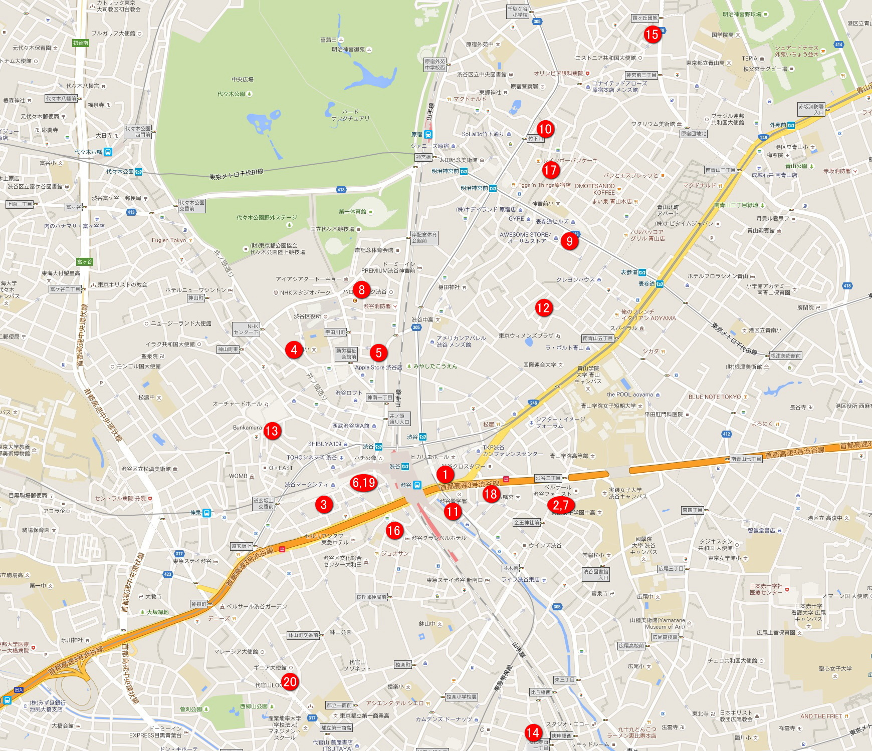 渋谷のイベントスペースマップ